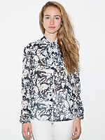 Illustrated Chiffon Secretary Blouse