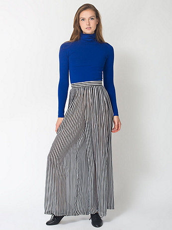 Wide Leg Pleated Chiffon Pant