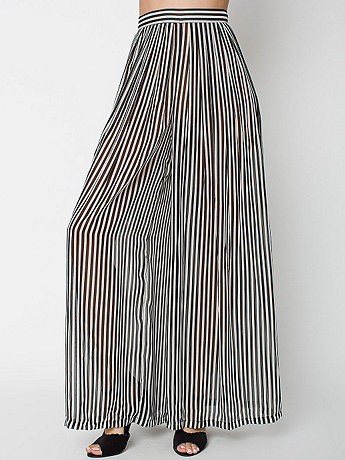 Striped Wide Leg Pleated Chiffon Pant