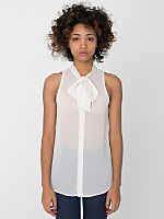 Chiffon Sleeveless Secretary Blouse