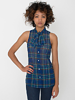 Plaid Chiffon Sleeveless Secretary Blouse