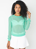 Chiffon Long Sleeve Crew Neck Pullover