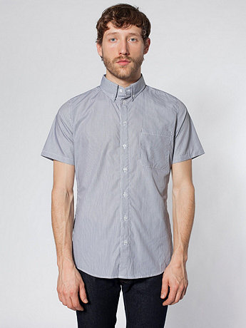 Italian Check Short Sleeve Button-Down with Pocket