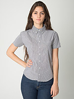 Unisex Italian Check Short Sleeve Button-Down with Pocket