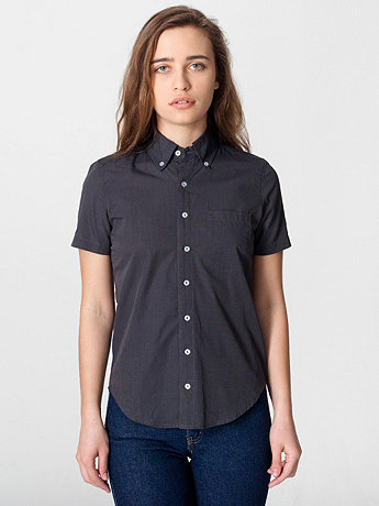 Unisex Italian Cotton Short Sleeve Button-Down wiith Pocket