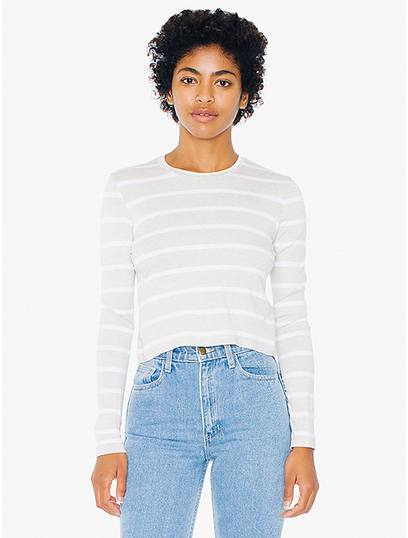 Striped Compact Jersey Mid-Length Long Sleeve Top
