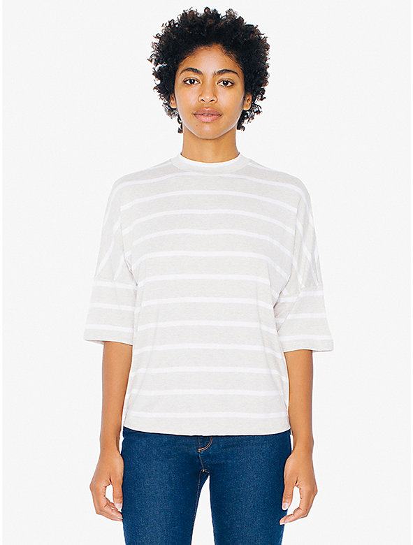 Striped Compact Jersey Mock Neck T-Shirt