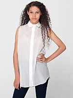 Sleeveless Lawn Button-Up