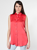Sleeveless Crepe de Chine Button-Up