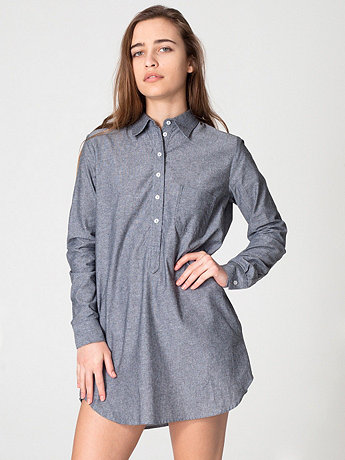 Chambray Henley Shirt Dress
