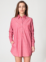Chambray Henley Shirt Dress