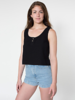 Chambray Henley Crop Top