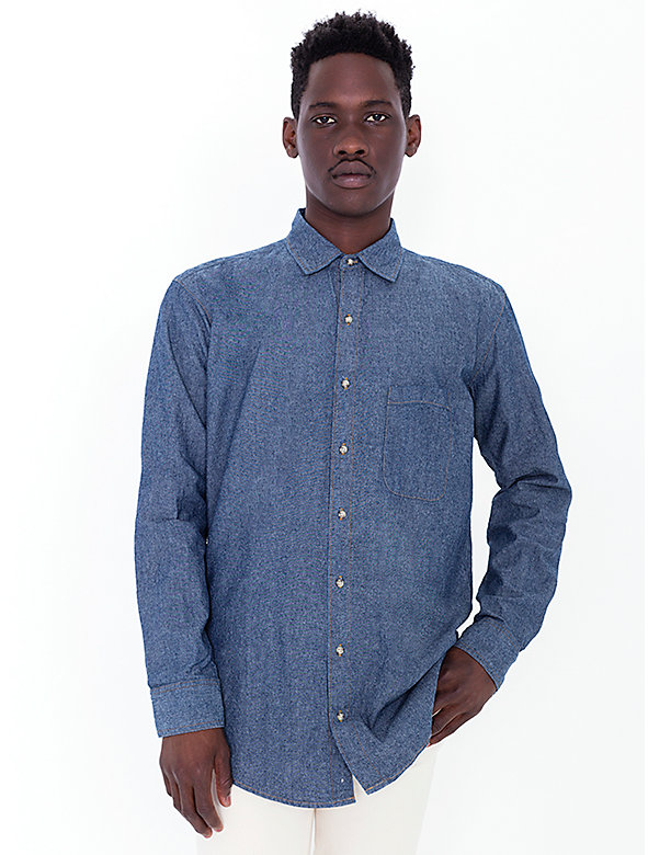 Heavy Chambray Long Sleeve Button-Up with Pocket