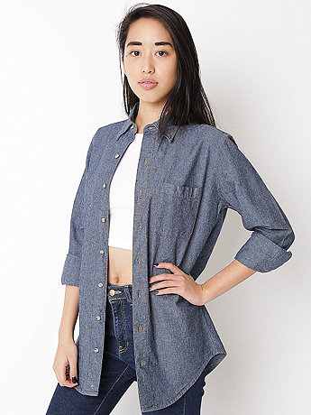 Unisex Heavy Chambray Long Sleeve Button-Up with Pocket