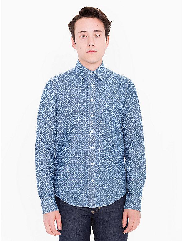 Slim Fit Printed Chambray Shirt