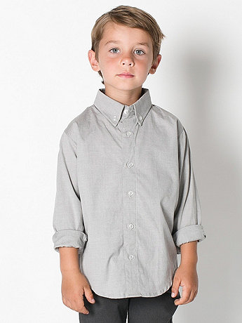 Kids' Pinpoint Oxford Long Sleeve Button-Down