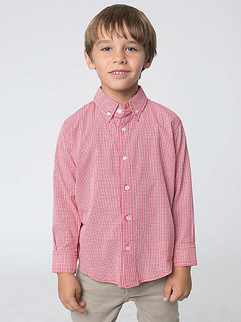 Kids' Gingham Long Sleeve Button-Down