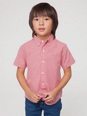 Kids Gingham Short Sleeve Button-Down