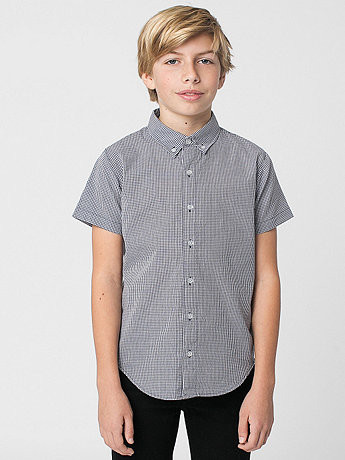 Youth Gingham Short Sleeve Button-Down