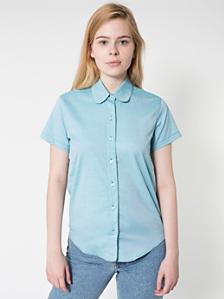 ピンポイントオックスフォードラウンドカラーショートスリーブボタンアップシャツ