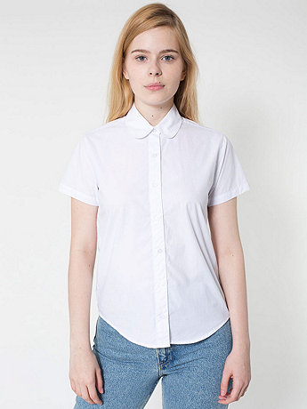 Poplin Round Collar Short Sleeve Button-Up