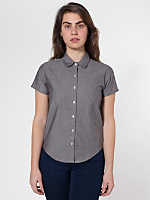 Chambray Round Collar Short Sleeve Button-Up