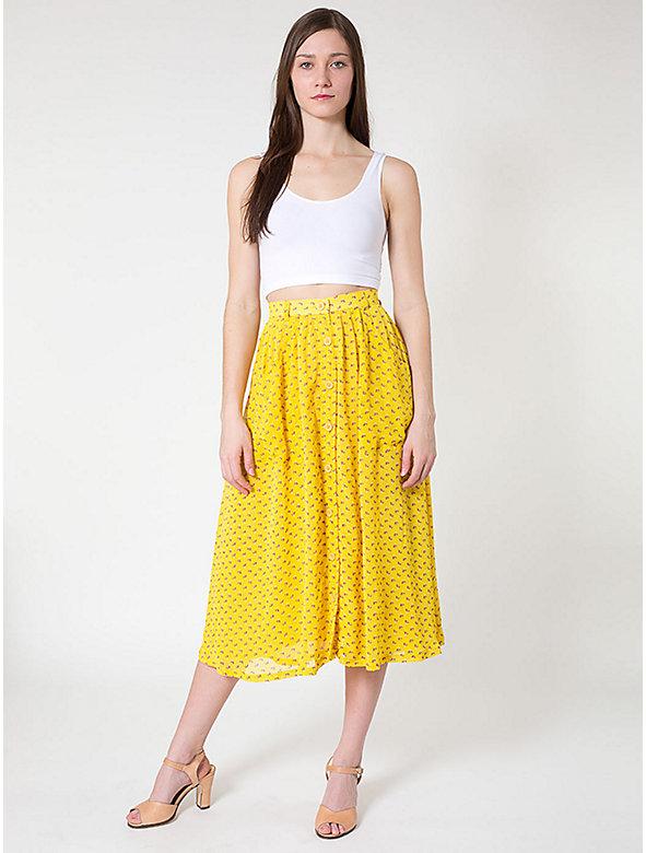 Chiffon Button Up Long Skirt