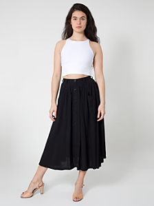 Rayon Solid Button Up Long Skirt