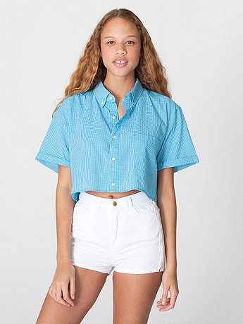 Gingham Oversized Crop Button-Down
