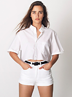 Poplin Oversized Crop Button-Down