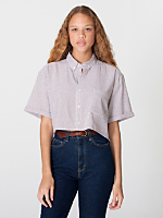 Seersucker Oversized Crop Button-Down