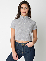 Check Cropped Short Sleeve Button Down Shirt