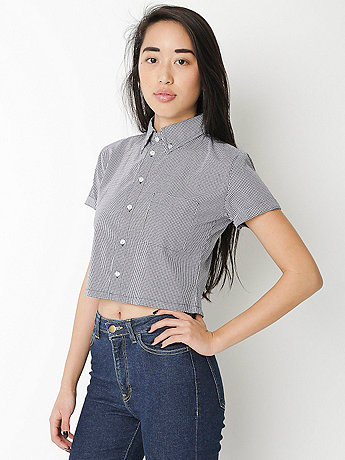 Gingham Cropped Short Sleeve Button Down Shirt