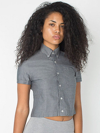 Pinpoint Oxford Cropped Short Sleeve Button Down Shirt