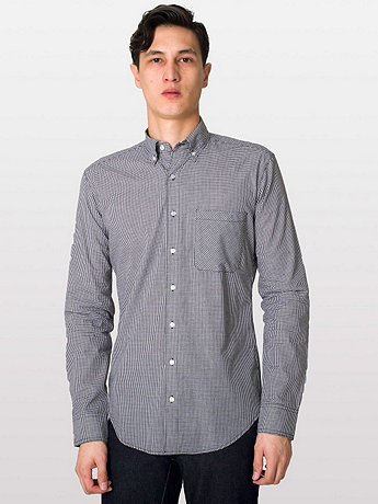 Gingham Long Sleeve Button-Down with Pocket