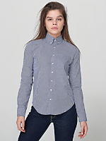 Unisex Gingham Long Sleeve Button-Down with Pocket