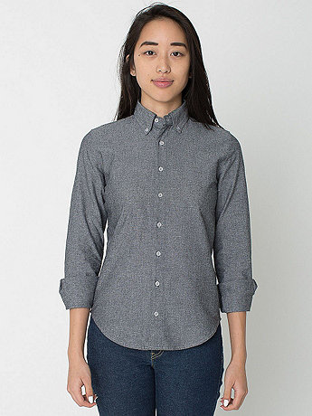 Unisex Chambray Long Sleeve Button-Down