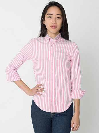 Unisex Stripe Long Sleeve Button-Down