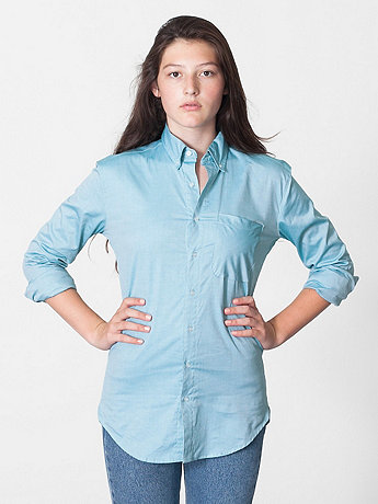 Unisex Pinpoint Oxford Long Sleeve Button-Down with Pocket