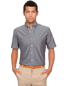 Pinpoint Oxford Short Sleeve Button-Down with Pocket