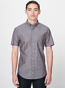 Chambray Short Sleeve Button-Down with Pocket
