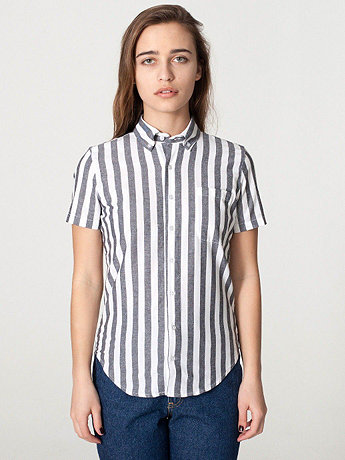 Unisex Stripe Chambray Short Sleeve Button-Down with Pocket