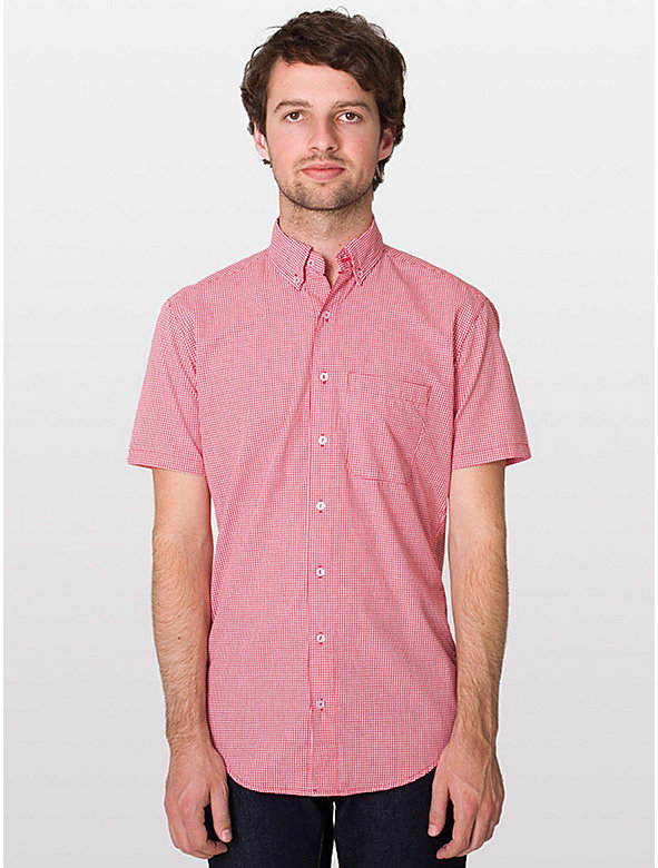 Gingham Short Sleeve Button-Down with Pocket