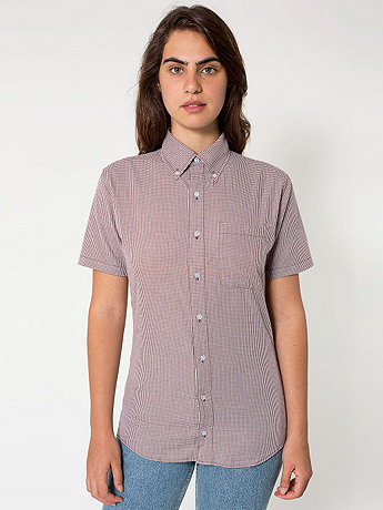 Unisex Gingham Short Sleeve Button-Down with Pocket