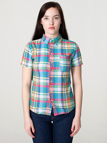 Plaid Short Sleeve Button-Down with Pocket
