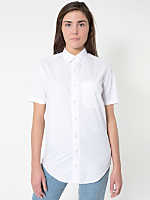 Unisex Poplin Short Sleeve Button-Down with Pocket