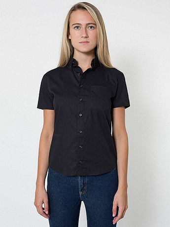Unisex Rigo Cotton Short Sleeve Button-Down with Pocket
