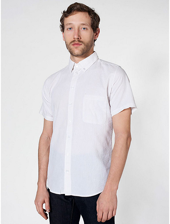 Seersucker Short Sleeve Button-Down with Pocket