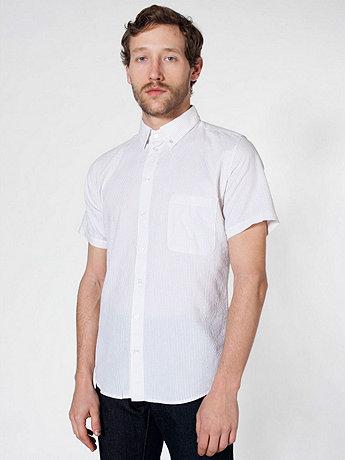 Seersucker Short Sleeve Button-Down with Pocket