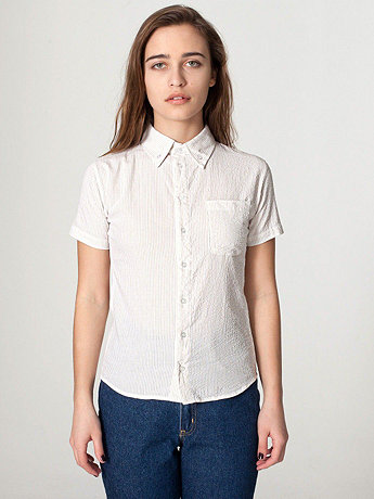 Unisex Seersucker Short Sleeve Button-Down with Pocket